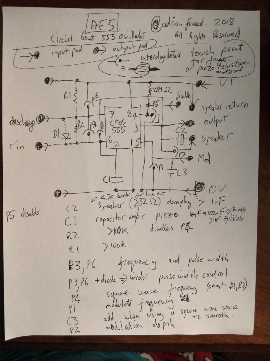 Sounding Objects Adrian Freed The Circuit Shown Is Most Interesting Of Several Drum Oscillators Other Makes Controllable Pulse Waves I Capture These Possibilities On Following Schematic Which Has A Special Notation For Where You Add Variable